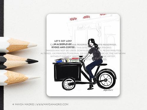 World of Books and Coffee   Vinyl Matte Sticker