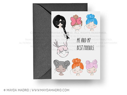 Me and My Best Friends Greeting Card | Gris Girls