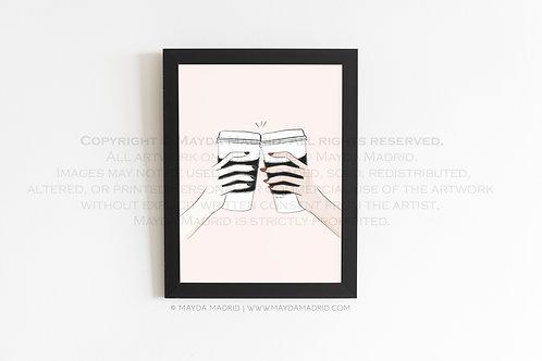 You, Me and Coffee    Fashion Illustration   Fine Art Print