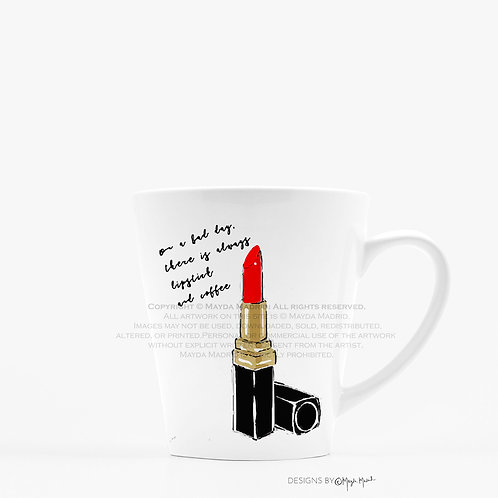 Coffee and Lipstick Fashion Illustrative Latte Mug