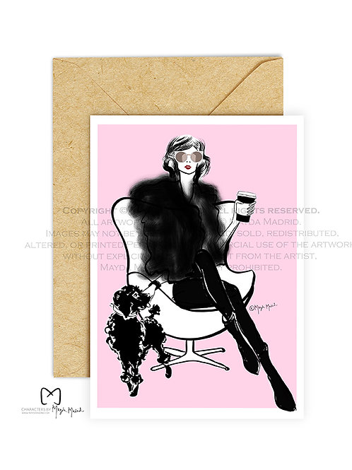 Pet Love- Fashion Illustration Greeting Card