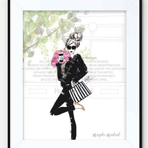 Girls Day -Fashion Illustration- Art Print- Hand Illustrated-Fashionista