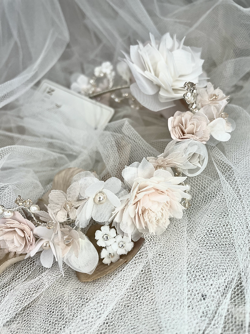 Nieve Couture Floral Nude Headband