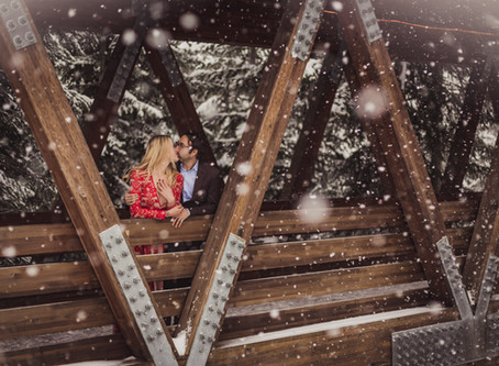 Snowy Snoqualmie Pass Engagement Photos