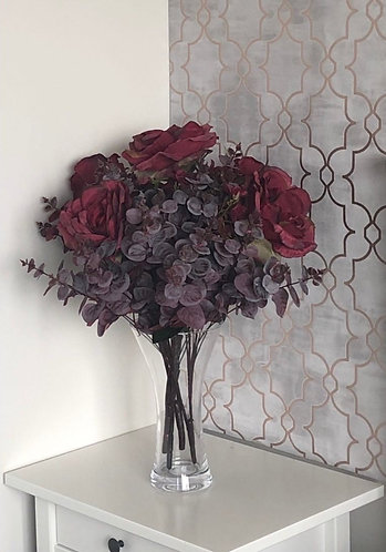 Dark Red Roses & Red Eucalyptus