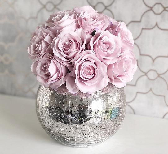 Pink Rose Dome - Crackled Vase