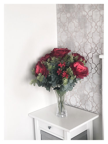Ruby Red Roses & Eucalyptus