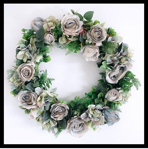 Spring Wreath - Nude & Blue