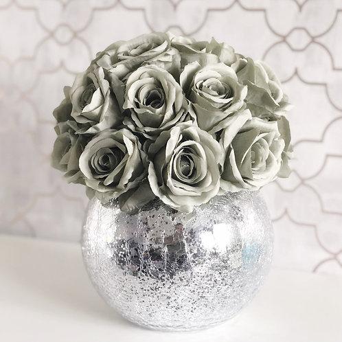 Sage Green Rose Dome - Crackled Vase