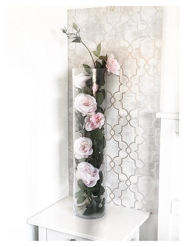 Cylinder Vase Display ~ Garden Roses
