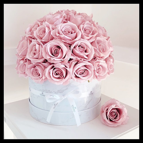 Marble Effect Hatbox - Pink Roses