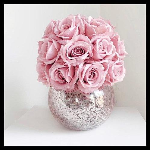 Pink Rose Dome - Crackled Vase RG