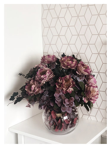 Burgundy Peony Delight - Glass Globe Vase