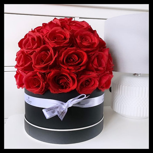 Rose Hatbox Black - Passionate Red