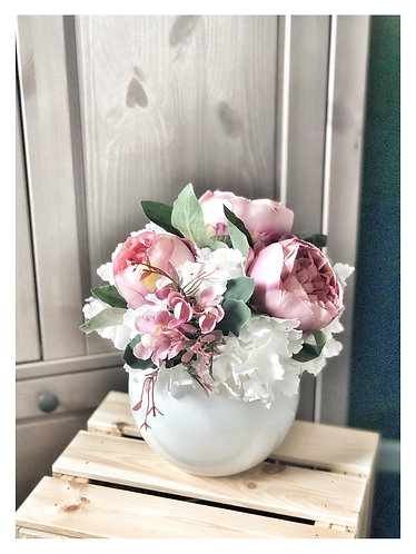 White Hydrangea & Pink Peony