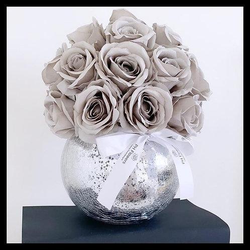 Grey Rose Dome - Crackled Vase