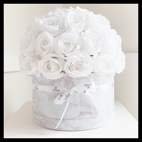 Marble Effect Hatbox - White Roses