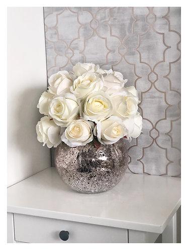 Ivory Rose Dome - Crackled Vase