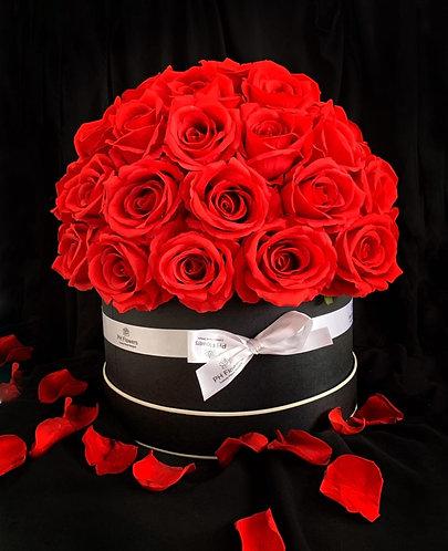 Red Rose Hatbox - Black