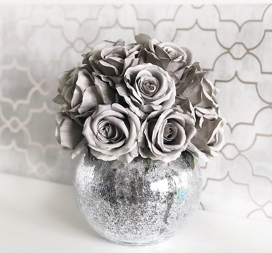 Grey Rose Dome - Crackled Vase