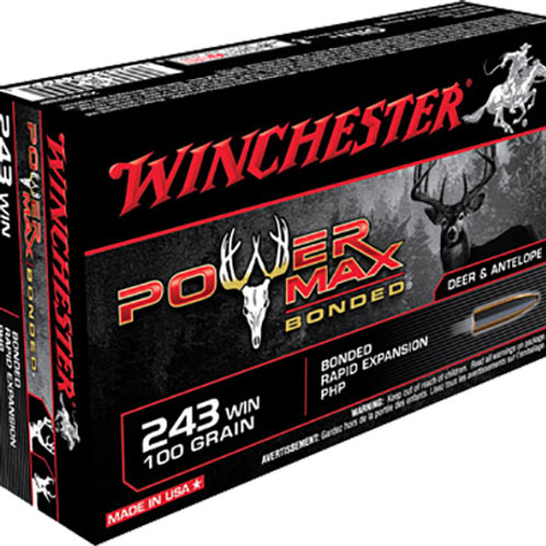 Winchester Ammo X2432BP Power Max Bonded 243 Win 100 gr Protected HP 20/Box