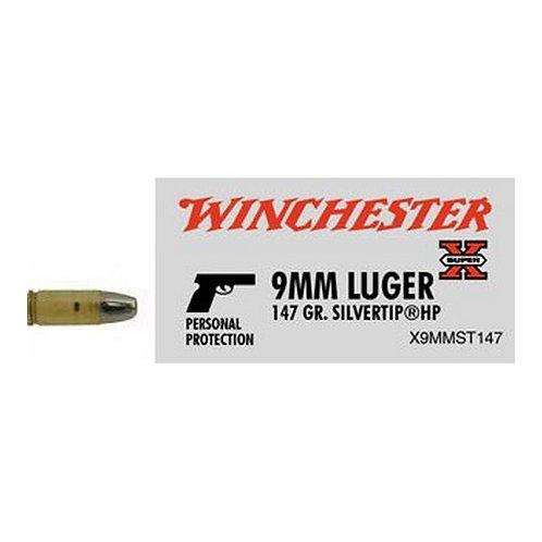 Winchester Ammo X9MMST147 Super-X 9mm Luger 147 gr Silvertip Hollow Point 50/Box
