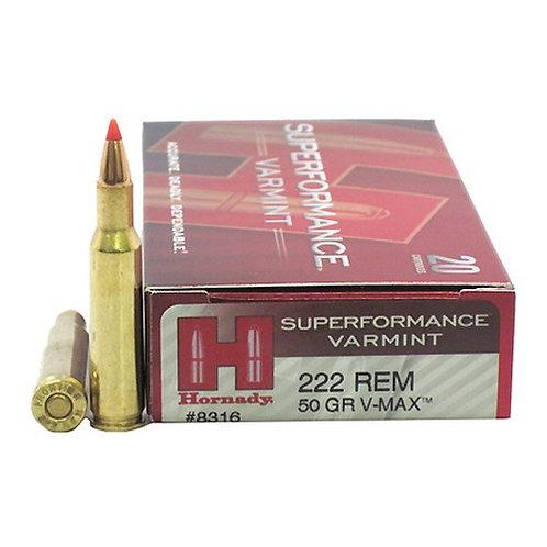 Hornady 8316 Superformance Varmint 222 Rem 50 gr V-Max 20/Box