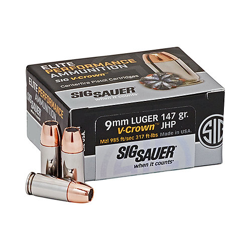 Sig Sauer Elite V-Crown 9mm Luger 147 gr Jacketed Hollow Point (JHP) 50/Box