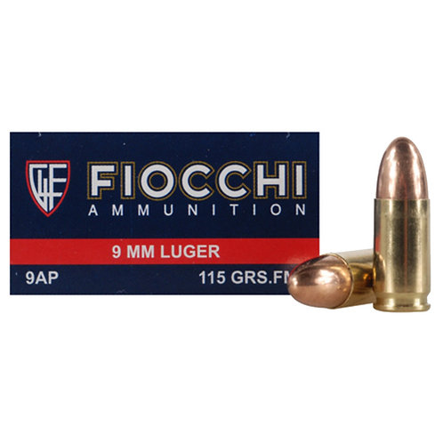 Fiocchi 9AP Shooting Dynamics 9mm Luger 115 gr Full Metal Jacket (FMJ) 50/Box