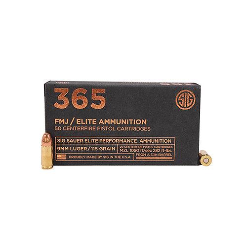 Sig Sauer E9MMB136550 Elite Ball 9mm Luger 115 gr Full Metal Jacket (FMJ) 50/Box