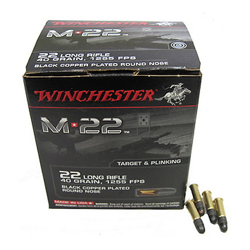 Winchester Ammo S22LRT M-22 22 LR 40 gr Black Copper Plated Round Nose 1000/Box