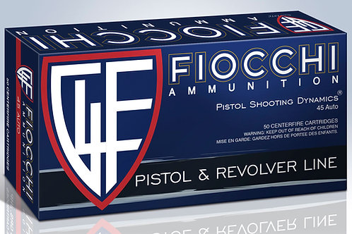 Fiocchi 45T500 Shooting Dynamics 45 ACP 230 gr Jacketed Hollow Point 50/Box