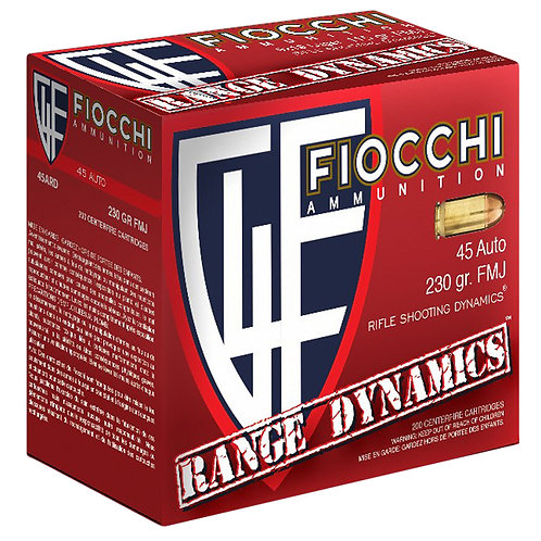 Fiocchi 45ARD Range Dynamics 45 ACP 230 gr Full Metal Jacket (FMJ) 200/Box