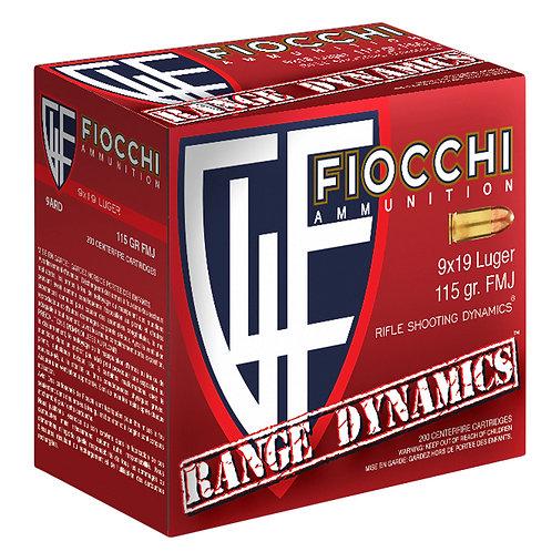 Fiocchi 9ARD100 Range Dynamics 9mm Luger 115 gr Full Metal Jacket (FMJ) 100/Box