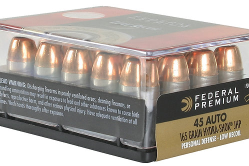 Federal Prem PD Low Recoil 45 ACP 165 gr Hydra-Shok Jacketed Hollow Point 20/Box