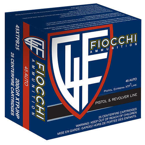 Fiocchi 45XTPB25 Extrema 45 ACP 200 gr Jacketed Hollow Point (JHP) 25/Box