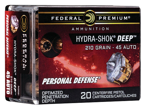 Federal Prem Personal Defense 45 ACP 210 gr Hydra-Shok Deep Hollow Point 20/Box