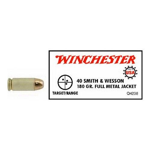 Winchester Ammo Q4238 USA White Box 40 S&W 180 gr Full Metal Jacket (FMJ) 50/Box