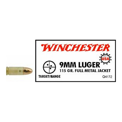 Winchester Ammo Q4172 USA White Box 9mm Luger 115 gr Full Metal Jacket 50/Box