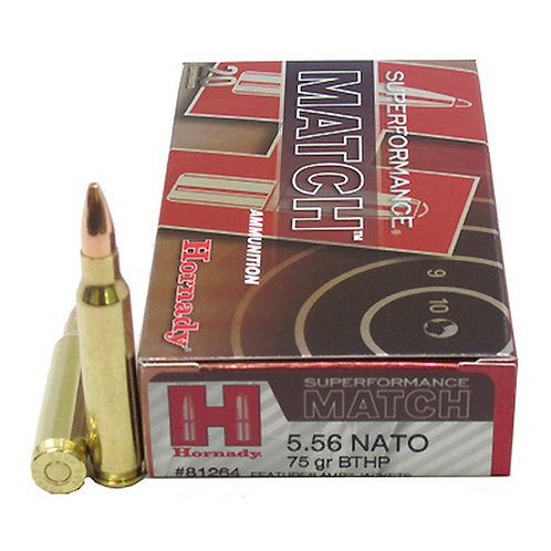 Hornady Superformance Match 5.56 NATO 75 gr Boat Tail Hollow Point Match 20/Box