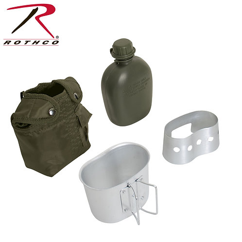 4 Piece Canteen Kit With Cover, Aluminum Cup & Stove / Stand