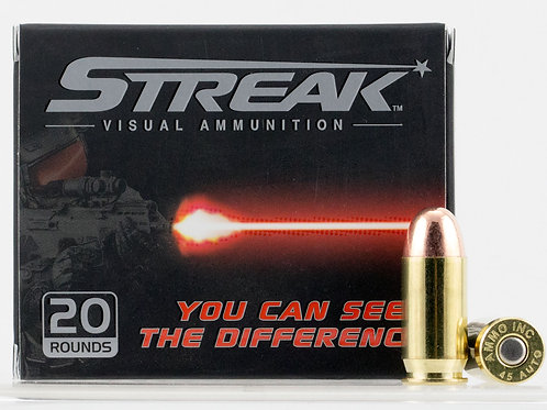 Ammo Inc 45230JHPSTRK Streak 45 ACP 230 gr Jacketed Hollow Point (JHP) 20/Box