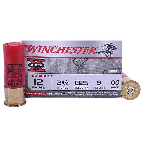 """Winchester Ammo 12 Gauge Super-X, 2 3/4"""" Buffered, 00 Buckshot, 9 Pellets, Per 5"""