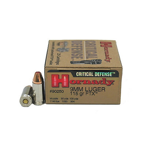 Hornady 90250 Critical Defense 9mm Luger 115 gr Flex Tip eXpanding 25/Box