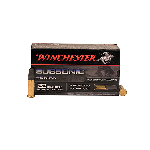 Winchester Ammo W22SUB42U Subsonic 42 Max 22 LR 42 gr Hollow Point (HP) 50/Box