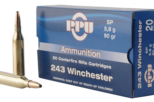 PPU PP2431 Standard Rifle 243 Win 90 gr Soft Point (SP) 20/Box