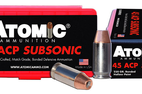Atomic Pistol Subsonic 45 ACP Subsonic 250 gr Bonded Match Hollow Point 50/Box