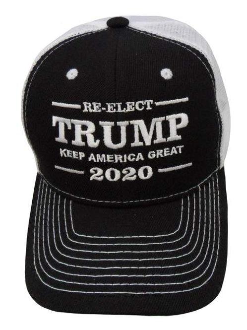 Re-Elect Trump Keep America Great 2020 Mesh Cap - BLK/WHT