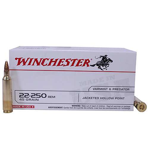 Winchester Ammo USA222502 22-250 Rem 45 gr Jacketed Hollow Point (JHP) 40/Box