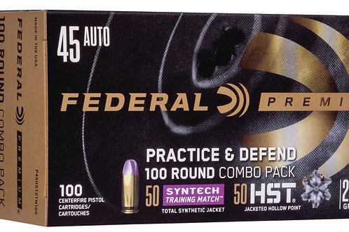 Federal P45HST2TM100 Practice & Defend 45 ACP 230 gr HST/Synthetic 100/Box